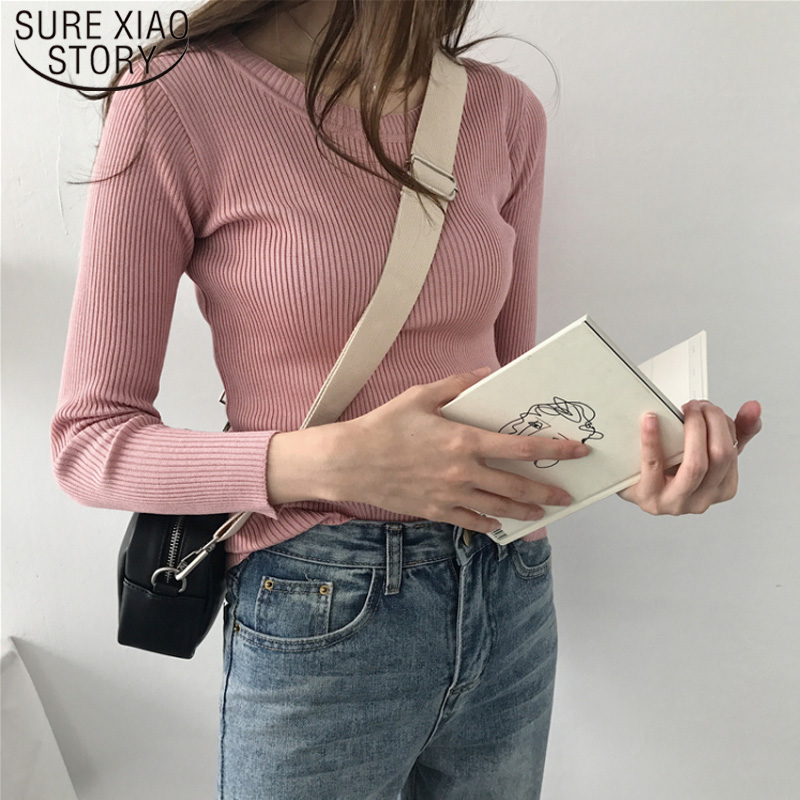 New Casual Autumn Winter Slim Pink Knitted Sweater Women Clothes Black Pullover Tops White Thin Sweaters Pull Femme 6821 50