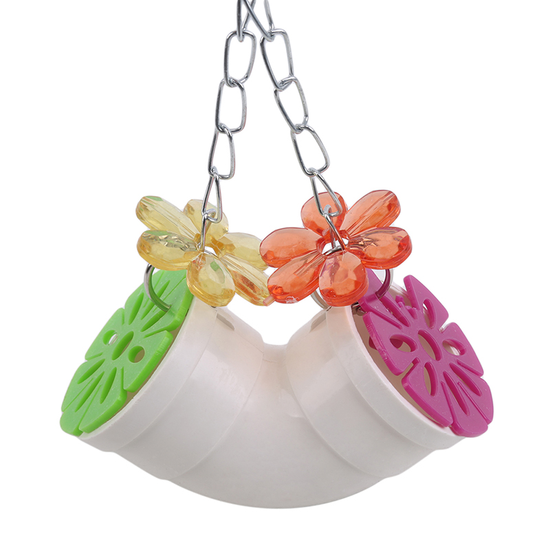 New Durable font b Pet b font Parrots Ball Toys Hanging Feeder With Chain Cage Pendant