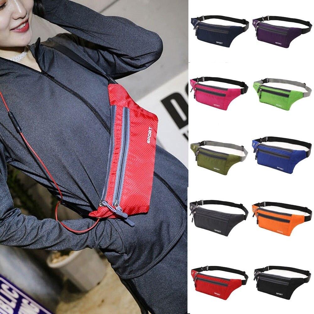 Unisex Sports Running Bum Waist Bag Fanny Pack Women Travel Waist Bags Phone Zip Money Belt Pouch Wallet