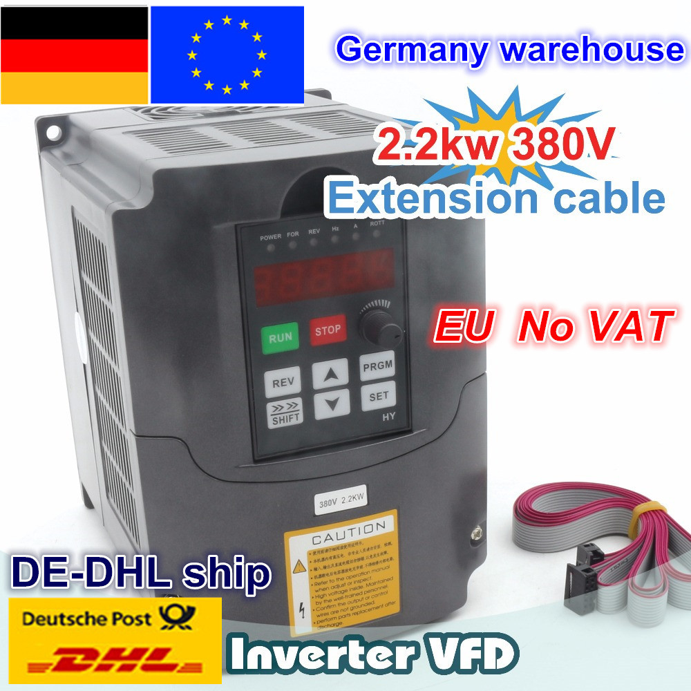 【DE free VAT】 2.2KW 380V 6A Spindle <font><b>motor</b></font> inverters Vector Control Frequency Converter 3HP Input FOR CNC ROUTER MILLING MACHINE image