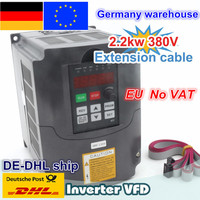 【DE free VAT】 2.2KW 380V 6A Spindle motor inverters Vector Control Frequency Converter 3HP Input FOR CNC ROUTER MILLING MACHINE