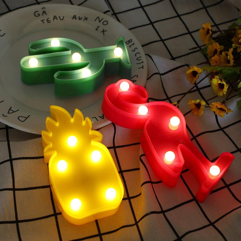 Led crianças luzes da noite flamingo conduziu a lâmpada pingente luz led abacaxi cactus estrela luminary lâmpada de parede decorações iluminação