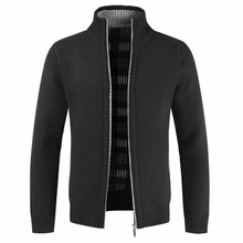2019 Autumn Winter New Mens Jacket Slim Fit Stand Collar Zipper Men Solid Cotton Thick Warm