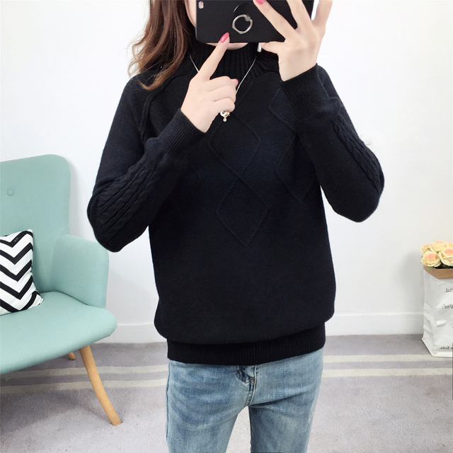 Ailegogo Sweaters 2019 Autumn Winter Solid Thick Turtleneck Casual Ladies Knitted Sweater Pullovers Women's Jumpers Tops 4