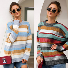 Women Striped Sweater Spring Casual Long Sleeve Pullover For Lady Fashion Girls Colorful Outwear Female Autumn Top Clothes недорого