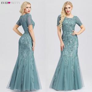Image 3 - プラスサイズウェディングドレスこれまでにかわいいEZ07705 seuqined oネック半袖エレガントなリトルマーメイドドレスフォーマルパーティードレス2020