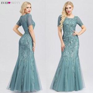 Image 3 - Grande taille robes de bal jamais jolie EZ07705 seuqiné o cou manches courtes élégant petite sirène robes robes de soirée formelle 2020