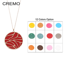 Cremo Long Chain Necklace Jewelry Pendant Interchangeable Leather Charm Women Necklaces & Pendants