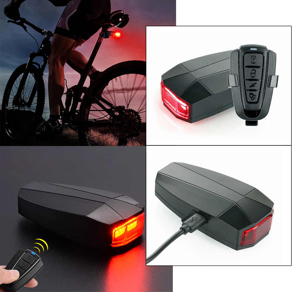 Bicycle USB Tail Light Safety Wireless Remote Anti-theft Alarm Warning Light