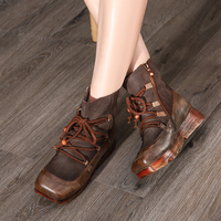 VALLU Genuine Leather Shoes 2019 Autumn Winter New Flat Platform Boots Square Toes Handmade Cowhide Retro Lace Up Ankle Boots