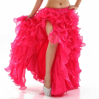 Fashion Ball Gown Skirt Women Sexy Side Slit Ruffles Solid Patchwork Long Skirt Belly Dance Performance Lady Chic Hot Skirt