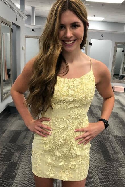 Hot Sale Spaghetti Straps Cross Back Sheath Short Homecoming Dresses Cute Cocktail Dresses