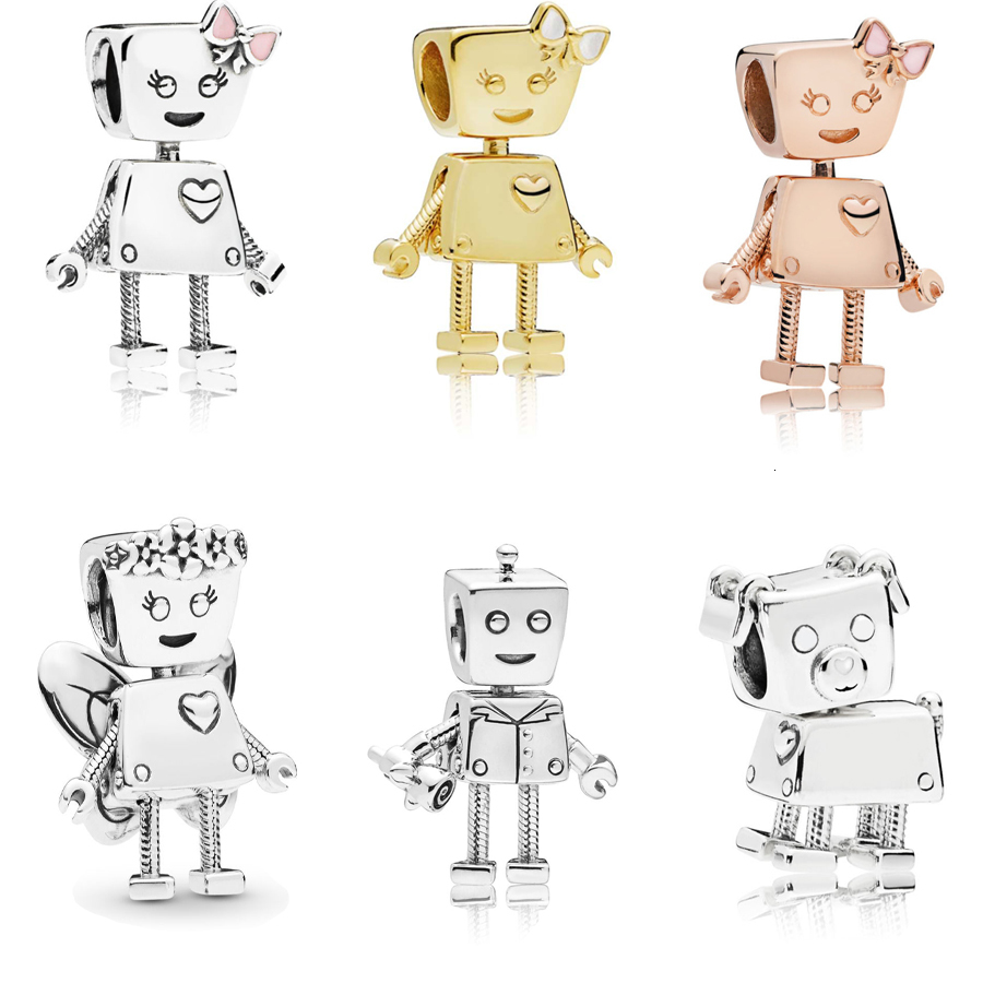 Authentic 925 Sterling Silver Cartoon Cute Bella Bot Charm Robot Gold Pink Enamel Charm Bead Fit Original Europe Dangle Bracelet