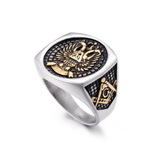 Luxury freemasonry AG jewelry rings double eagle design titanium steel casting ring for men free shipping
