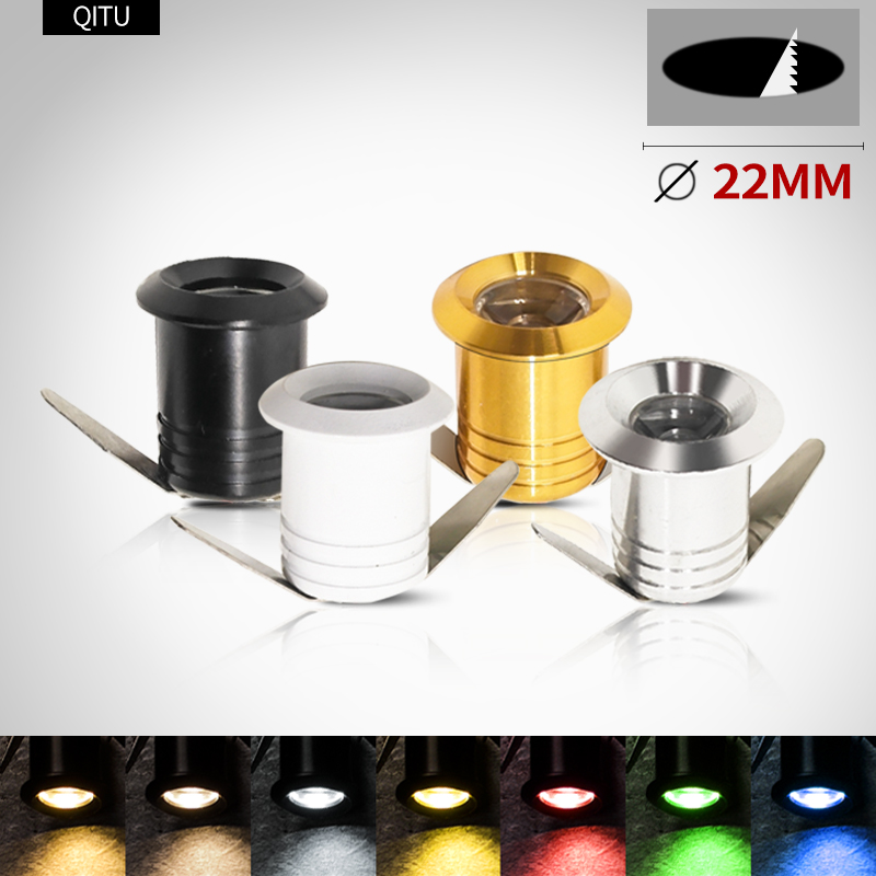 LED Mini Spotlights Colorful Embedded Display Cabinet Lights AC85-265V Household Kitchen Ceiling 1W Small Downlight