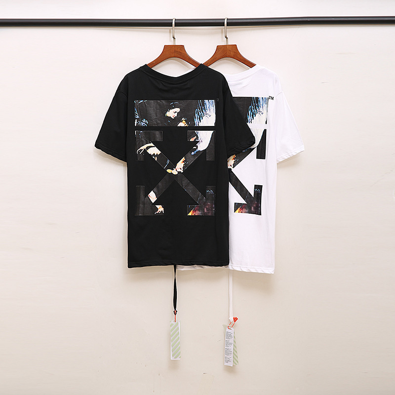OFF-WHITE OW T shirt men/women bow arrow print round neck sweatshirt streetwear t-shirt mens women off white t-shirt