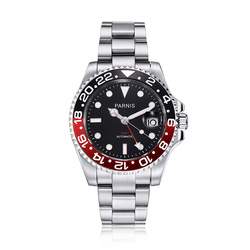 Parnis 40mm Black Red Bezel Mechanical Automatic Men Watches GMT Sapphire Crystal Diver Mens Watch relojes hombre 2019 Man Clock