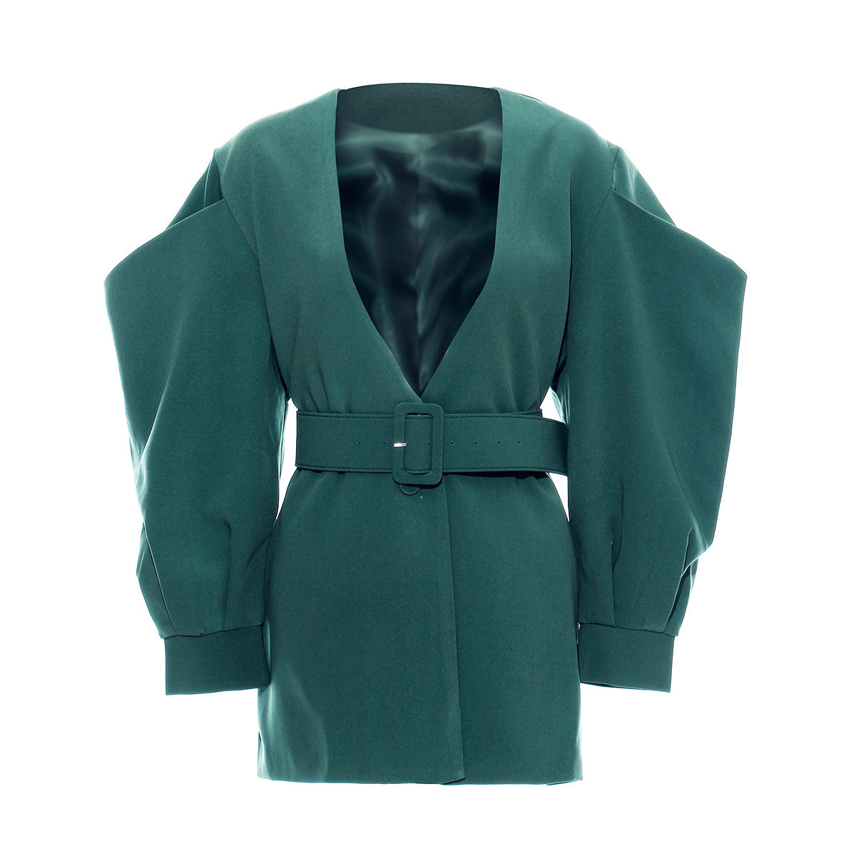 [EAM] 19 New Autumn Winter V-collar Long Batwing Sleeve Fold Split Joint Green Loose BandageJacket Women Coat Fashion JL083 18