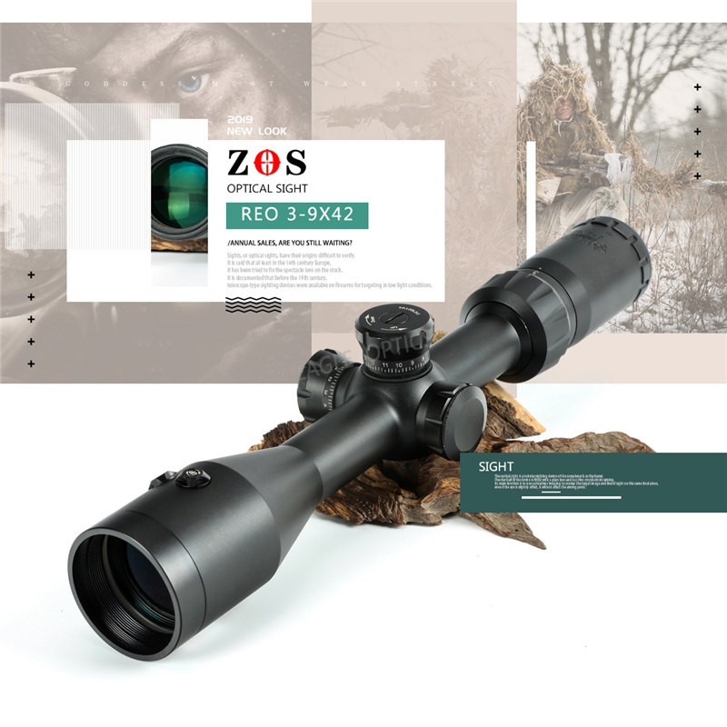 ZOS 3-9X42 EG Hunting Airsofts Riflescope Tactical Air Gun Red Dot Laser Sight Scope Holographic Optics Rifle Scope Oхота