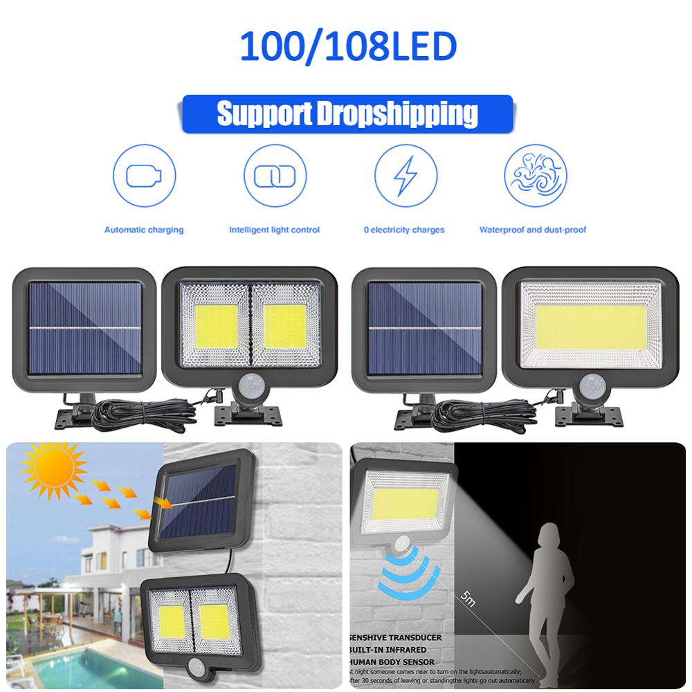 COB 100LED Solar Lamp Motion Sensor Waterproof Outdoor Path Night Lighting Support Dropshipping