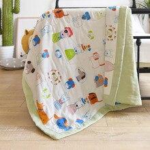 Детское одеяло для младенцев, постельное белье, хлопковые стеганые одеяла, мягкое летнее стеганое одеяло для малышей, с рисунком из мультфильма, дышащие, 150*200 см, BXX031