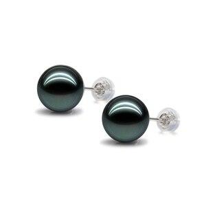 Pendientes de plata de ley S925 de 6 a 12mm, pendientes de tuerca con perla natural de concha de perla blanca, gris, negra y dorada para mujer, envío gratis