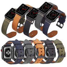 Apple watch Band 38mm 40mm 42mm 44mm, Leather Band Apple Watch Replacement Strap Wristbands for iWatch Bracelet Series 4 3 2 1 цена