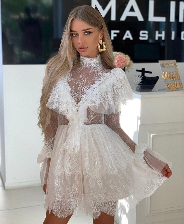 BacklakeGirls Ever Pretty Sexy Simple Short White Cocktail Dress A Line See Through Cheap Lace Evening Party Dress Vestidos