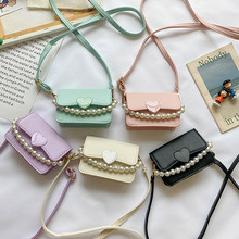 Kids Mini Purses and Handbags Leather Crossbody Bags for Women Small Coin Wallet Pouch Baby Girls Party Pearl Hand Bag Purse
