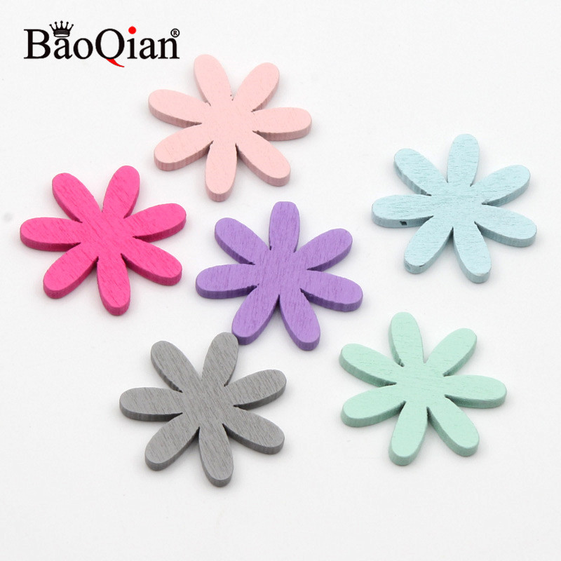 20Pcs 26mm Mixed Wooden Flower Slice For DIY Wood Crafts Embellishments Home Decoration Accessories