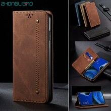 Denim Leather Flip Case for OPPO F11 A9 RENO 2 2F 2Z Coque Magnetic Lu