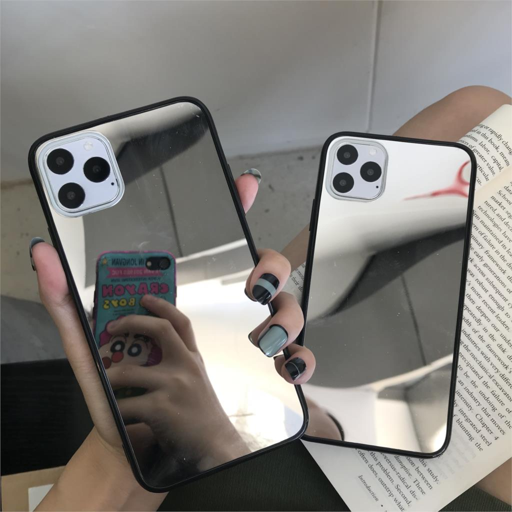 Black Bumper Mirror Plating Silicone TPU Case For Iphone 11 Pro MAX 6 6S 7 8 Plus X XS XR Cover Soft Back Coque Caso Phone Cases