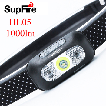 цена на Supfire Headlamp LED Flashlight Linterna USB Headlight Head Torch Lamp Lanterna HL05 Head Light 1000lm For Nitecore Fenix Light