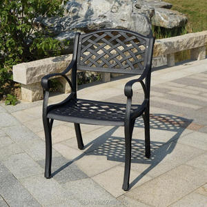 Lot of 2-piece heavy duty outdoor cast aluminum patio chair all weather for garden backyard poolside