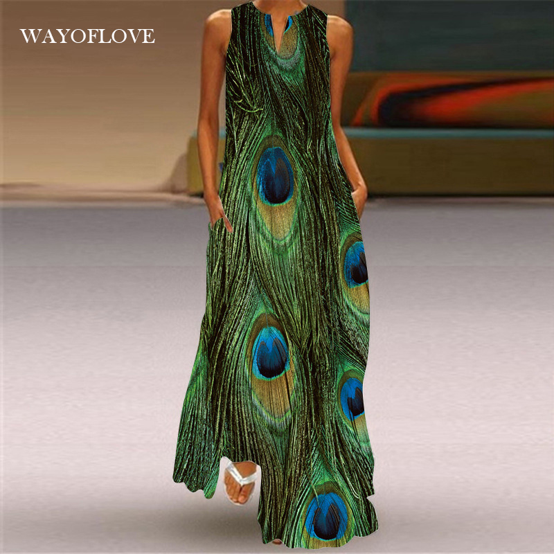 WAYOFLOVE размера плюс с принтом «павлиньи перья»; Зеленое платье принцессы 2021 брюки на каждый день для девочек длинные платья; Сезон лето; Женск...
