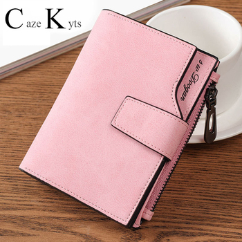 New ladies short wallet female zipper wallet multi-function fashion simple fresh large capacity cowhide material purse фото