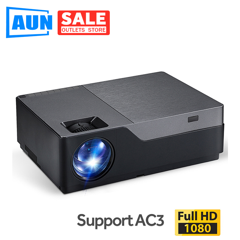 AUN Full HD Projektor, 300 zoll Heimkino, 1920x1080P LED Projektor. Unterstützung AC3. 5500 Lumen. (Optional Android WIFI M18UP)