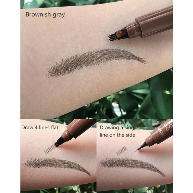 Makeup Fine Sketch Liquid Eyebrow Pen Waterproof Brow 4 Fork Tip Cosmetic Art Tint Eye Brow Pencil Microblading Tattoo Eyebrows 5