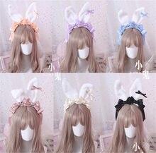 Doce Japonês Kawaii bowknot Grande de Pelúcia Orelhas de Coelho Faixa de Cabelo Headwear Headband Cosplay Lolita KC B473 Artesanais Acessórios Para o Cabelo