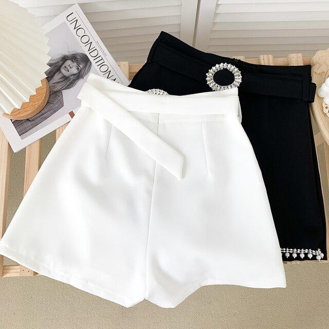 Ashgaily 2021 New Women's Shorts Diamond bow Shorts Slim Wide Leg A-line Sexy Shorts Summer Fashion 2