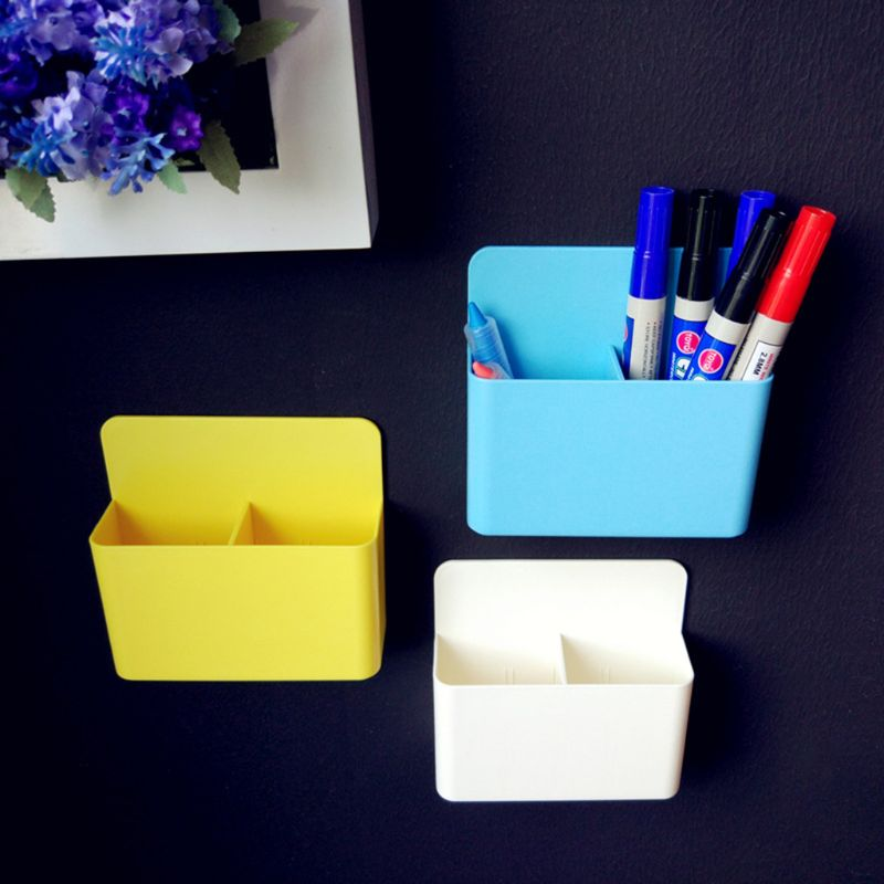 Save Space Kitchen Storage Boxes Fridge Magnet Magnetic Storage Box Grid Rubber Magnet Plastic Organizer Bins Pens Pencil Cup