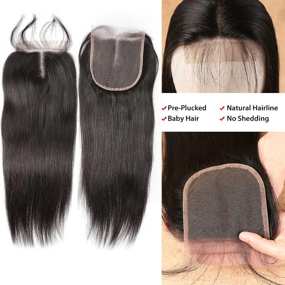 Prosto 8-28 30 32 40 Cal 3 4 brazylijski włosy wyplata wiązki z 4X4 5x5 13x4 zamknięcie koronki Frontal Remy włosy splecione ludzkie włosy