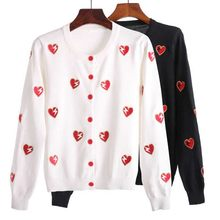 NiceMix Women's Small Fragrance Peach Heart Embroidered Knitted Shirt Short Sweater Thin Single-row Button Cardigan Coat Coats(China)