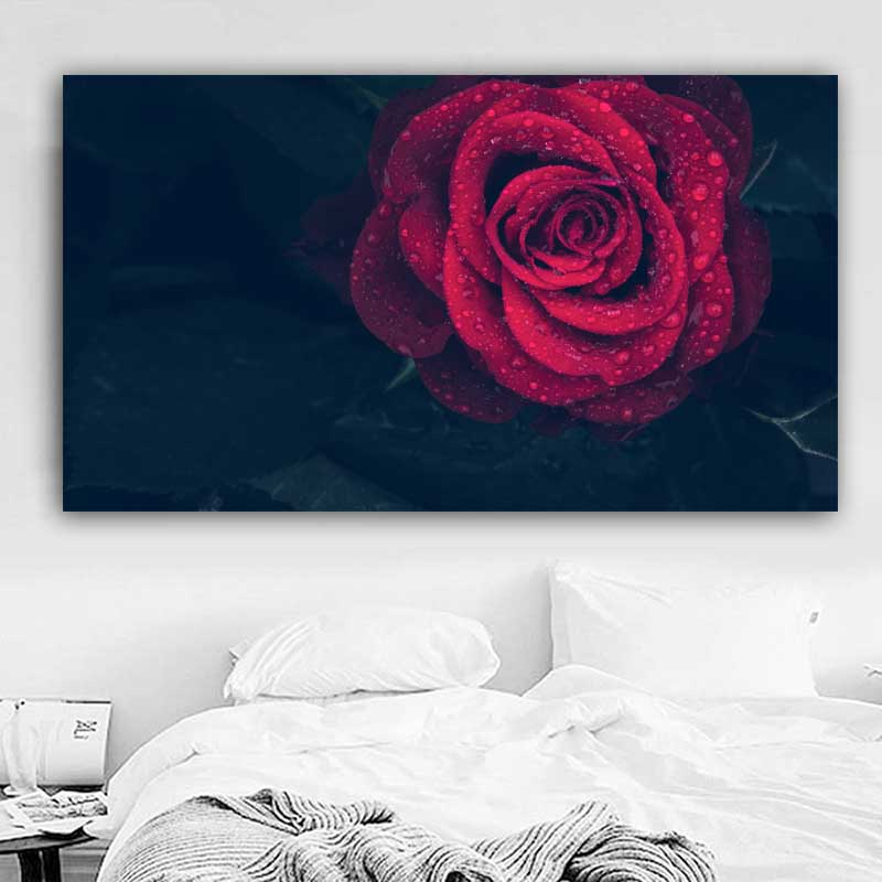 RELIABLI Poster Wall Art Canvas Painting Flower Print Red Rose Wall Pictures for Living Room Cuadros Home Decoration Unframed in Painting Calligraphy from Home Garden