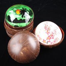 Цветная печатная креативная миска из скорлупы кокоса чашка в виде кокоса конфеты соленые рисовые чаши пищевой контейнер чашка в виде кокоса s корзины ручной работы для хранения Чаша