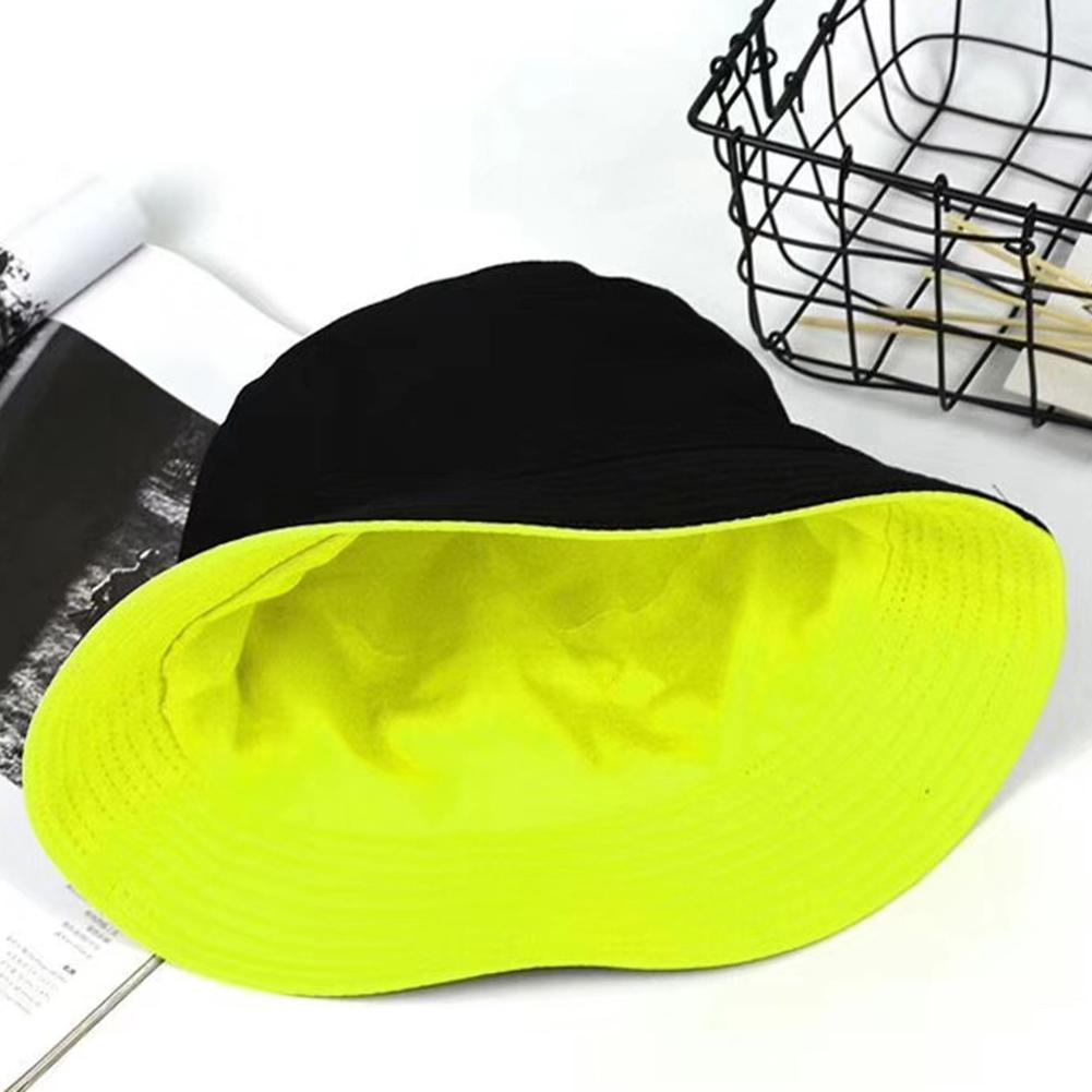 Fashion Women Solid Color Art Double-sided Flat Cotton Reversible Fisherman Casual Wild Sun Hat Bucket Cap