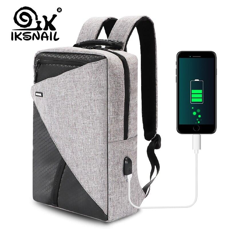 Ikescargot USB charge sac à dos pour ordinateur portable 15.6 pouces voyage sac à dos fonction Anti-vol étanche Mochila sac d'école pour hommes PC sacs