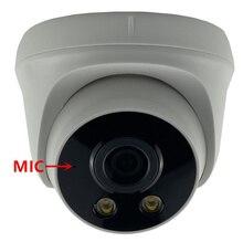Micrófono Audio 3MP 2304*1296 todo Color luz cálida automática baja iluminación cámara domo IP Sony IMX307 + 3516EV200 H.265 Onvif