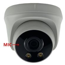 Microfone áudio 3mp 2304*1296 toda a cor automática luz quente baixa iluminação ip dome câmera sony imx307 + 3516ev200 h.265 onvif
