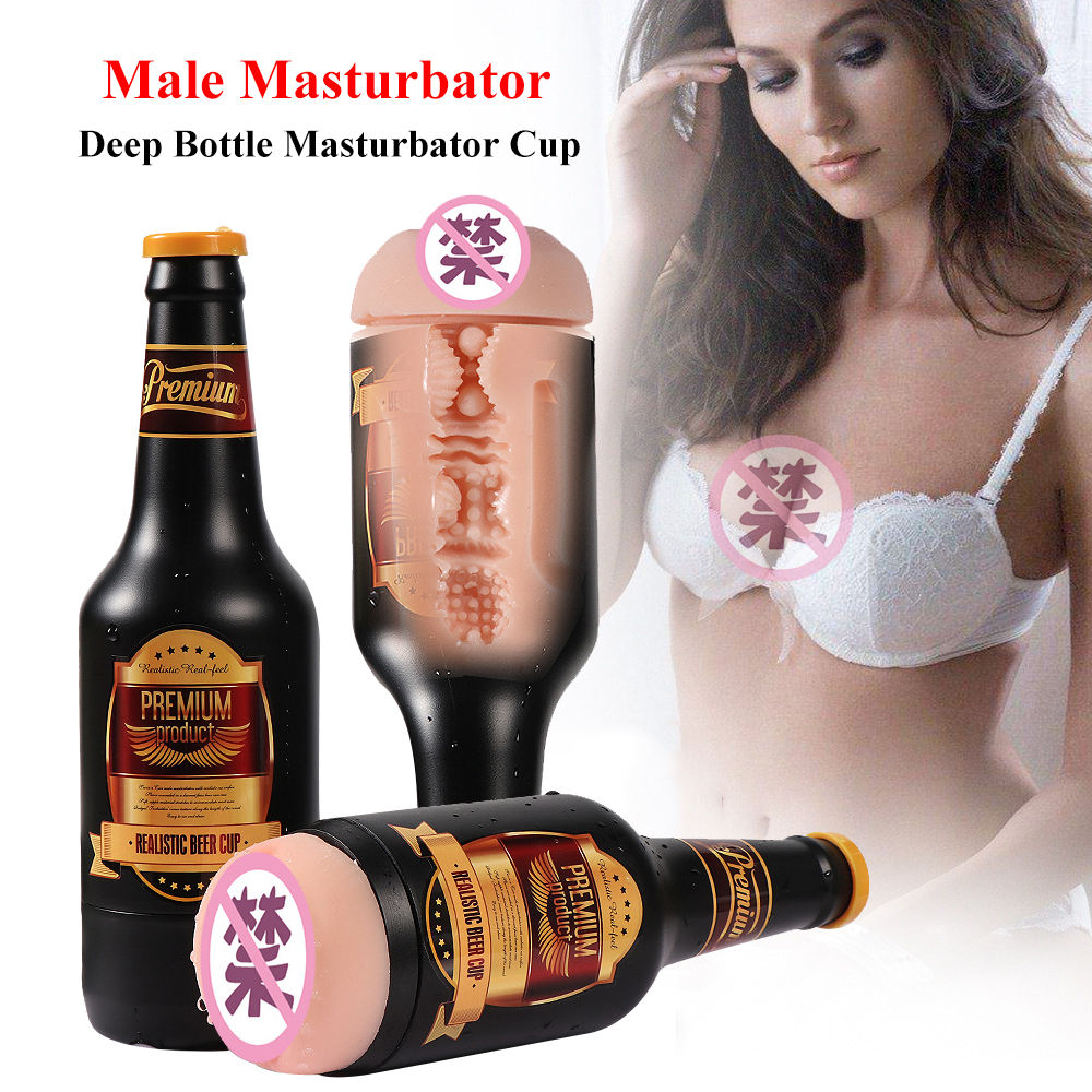 Male Masturbator Real Pussy Beer-Bottle Sex-Toys Realistic Vaginal Portable Aircraft Cup Soft Anal Masturbator Cup For Male